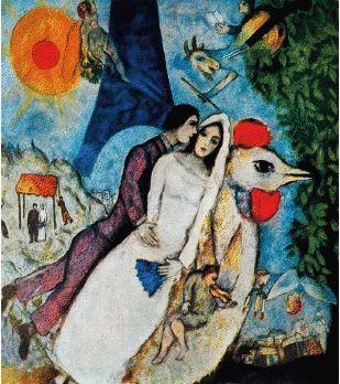 Marc Chagall, Gli sposi e la torre Eiffel, 1934.