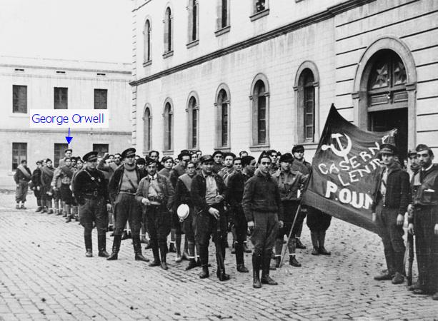 I membri del POUM nella guerra civile spagnola. L'uomo alto sul retro è George Orwell. 1937