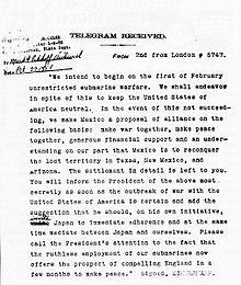 Il telegramma, completamente decifrato e tradotto.