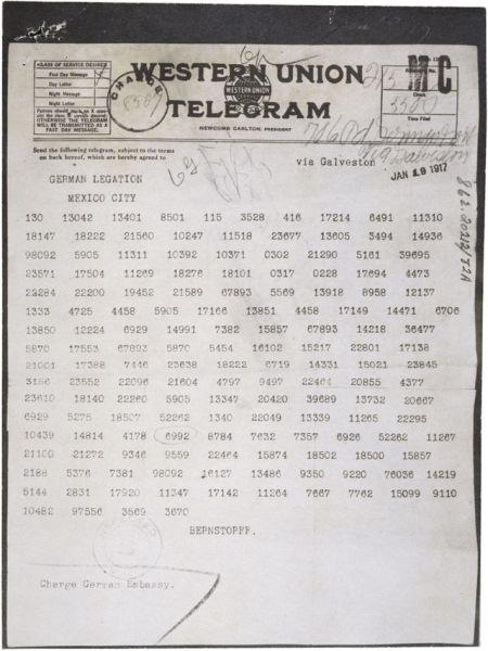 Il Telegramma Zimmermann, come venne mandato in Messico, dall'ambasciatore tedesco a Washington. Ogni parola era cifrata in un numero a quattro o cinque cifre, usando un cifrario.