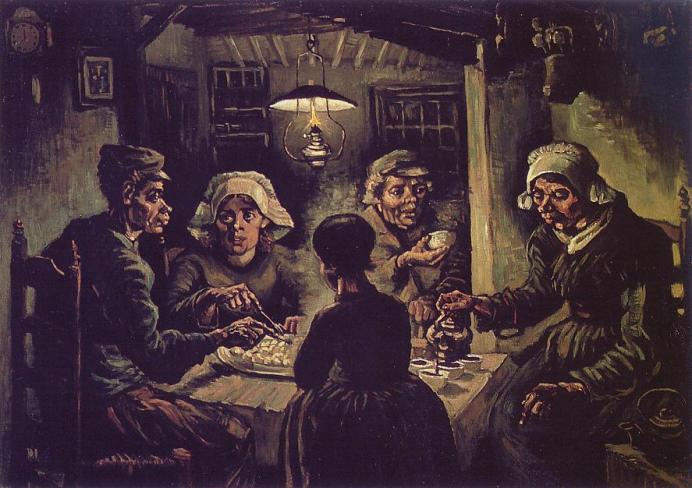 Nell'aprile 1885 Van Gogh  realizza i 'Mangiatori di patate', una summa di tutti gli studi realizzati sino a quel momento.